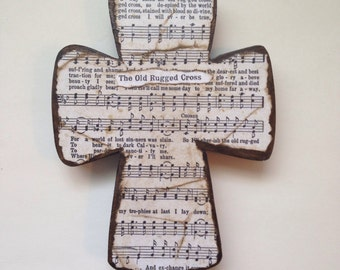 The Old Rugged Cross Wooden Wall Hymnal Art MADE TO ORDER