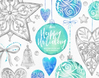 Happy Holiday Blue & Silver. 33 Watercolor Elements, hand painted clipart, tree toys, stars, bell, christmas, new year, greeting, diy, heart