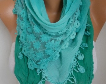 Mint Ombre Cotton Scarf , Spring Scarf, Oversized Wrap Shawl Cowl Bridesmaid Gift Gift Ideas for Her Women Fashion Accessories Women Scarves