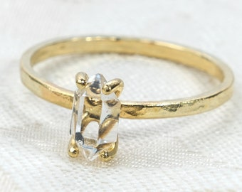 Herkimer Diamond Engagement Ring - Quartz Crystal Ring - Gold Fill Ring - Filled Gold - Raw Quartz Ring - Raw Crystal Ring - Rough Stone