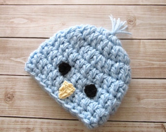 Crochet Baby Hat, Baby Chick Hat, Baby Boy Hat, Baby Easter Hat, Newborn Chick Hat, Infant Easter Hat, Baby Chick Beanie, Blue Baby Hat