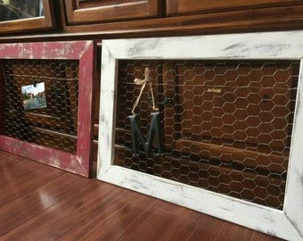 """Distressed Chicken Wire Frame (20""""x26"""" outside dimension) for photos and home decor spaces, Farmhouse style, rustic, farmhouse charm"""