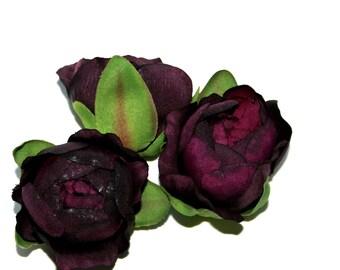 3 Royal Purple Ranunculus - Silk Flower Heads