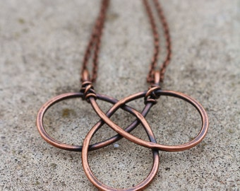 Celtic Knot. Oxidized Copper. Wire Jewelry