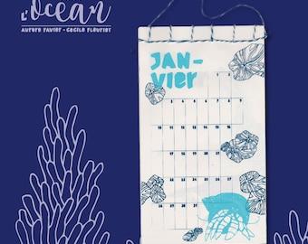 Screen printed calendar - under the sea