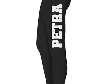Your Name or Text on BOTH SIDES of Black Leggings, White Lettering, various lettering styles available