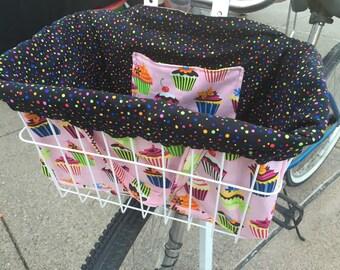 Cupcakes Galore Bike Basket Liner in Pink
