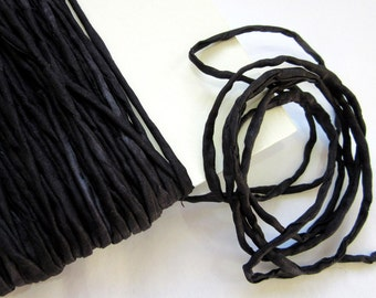 Black Silk String - Black Silk Necklace Cord - Hand Dyed Rolled Silk String