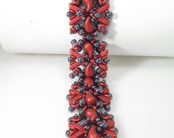 Entwined - Beading Tutorial - AVA and Zoliduo 2 color Bracelet - Beading Pattern - AVA Zoliduo O Beaded Bracelet Tutorial - Bracelet PDF