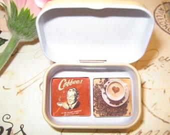 Set of 2 Glass Tile Magnets, Fridge Magnets in gift tin, Refridgerator, Retro Coffee, Best friends gift, Hostess, SET OF 2.