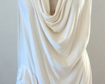 Ivory drape top with cowl neck