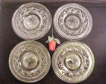 """Vintage Cape Cod 8"""" Clear Salad Plates by Imperial Glass (4), Crystal Footed Glass Dessert Plates, Elegant Depression Glassware"""