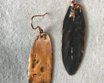 Hand made copper paddle earrings with patina.