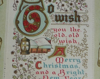 Christmas Wish Ornate Antique Postcard
