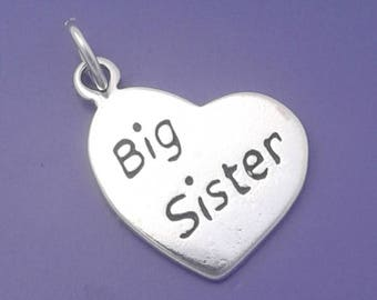 BIG SISTER HEART Charm .925 Sterling Silver Pendant - lp3106