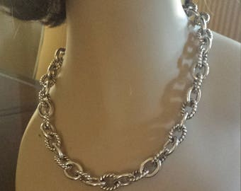sterling silver chain link rope twist designer necklace