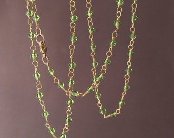 Long or Short Green Peridot Stone Gold Beaded Necklace