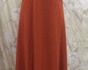 1970s Rust Maxi Dress, Rust Evening Gown