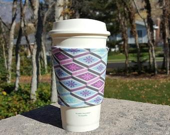 FREE SHIPPING UPGRADE with minimum -  Fabric coffee cozy / coffee cup holder / coffee sleeve -- Diamonds