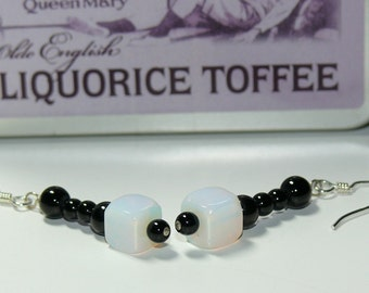 Moonstone and Black Glass Bead Dangle Sterling Silver Handmade Earrings