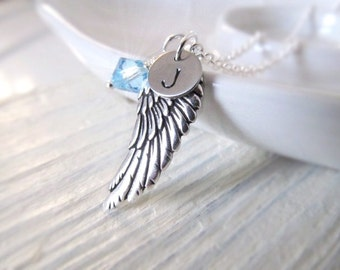 Personalized Necklace, Angel Wing Necklace with Birthstone and Initial Charms, Birthstone Necklace, Memorial Jewelry,  Graduation Gift