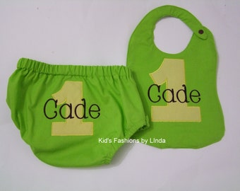 Personalized Lime Green/Yellow Diaper Cover and Bib Set
