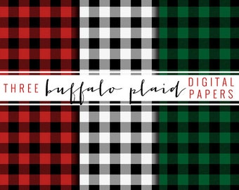 buffalo plaid digital paper - red, green, and black and white - personal and commercial use