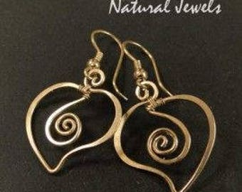 hammered and brushed brass heart stud earring
