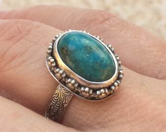 Turquoise Stacking Ring Size 6 Artisan SilverSmith Turquoise Stone Ring Sterling Silver Floral Botanical Solitaire Ring Flower Pinky Ring