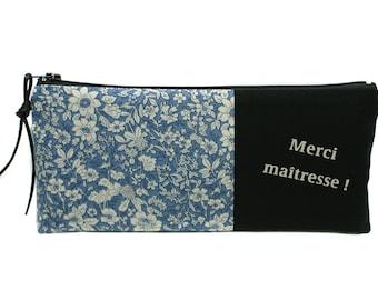 Thank you teacher gift, pencil case blue, year end gift, personalized gift, personalized bag, thank you