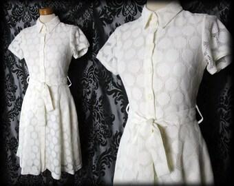 Gothic Cream Lace Buttoned LIBERTINE Vintage Tea Dress 8 10 Retro 50s Pin Up