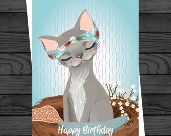Happy Birthday Cat Greetings Card