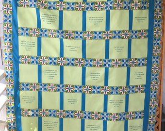 Scripture square quilt top unfinished Green and blue #22006