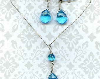 Aquamarine Tears Sterling Silver Duo