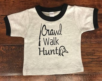 Baby Clothes, Crawl Walk Hunt Shirt - Trendy Clothes - Unique Baby Clothes - Baby Boy Clothes - Baby Boy Clothes - Cute Baby Girl Clothes