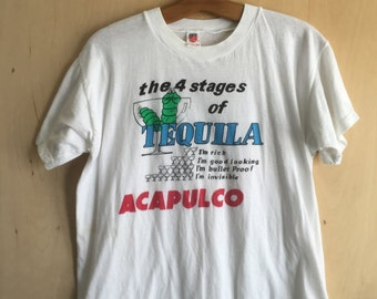 """80's Acapulco """"4 Stages of Tequila"""" T-Shirt L"""