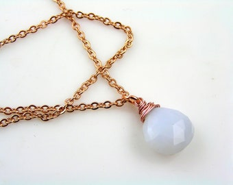 Rose Gold Necklace with Natural Holly Blue Chalcedony, Rose Gold Jewelry, Chalcedony Jewelry, Gem Jewelry, Gemstone Necklace, N2012
