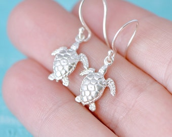 Sterling Silver Turtle Earrings, Sea Turtle Jewelry, Silver Turtle Dangle Earrings, Sterling Sea Turtle Earrings, Gift For Her