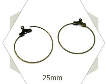 20 bronze hoop earrings, 25 mm, round, findings, circles, AB74