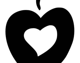 Apple with heart inside SVG cutting file