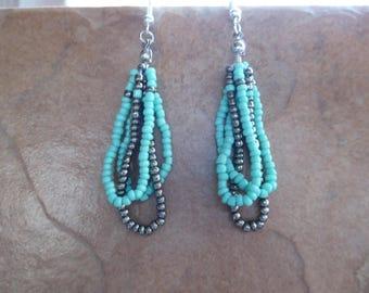 Turquoise and Gunmetal Silver Beaded Loop Earrings, Seed Bead Earrings; December Birthstone; Turquoise Jewelry