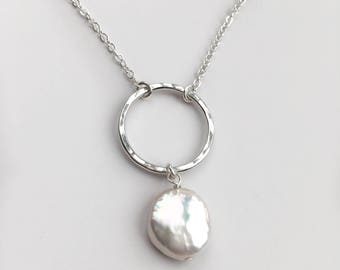 Sterling Silver and Pearl Pendant Necklace - Coin Pearl Necklace - Hammered Silver Circle Necklace - Pearl Drop Necklace - Everyday Jewelry