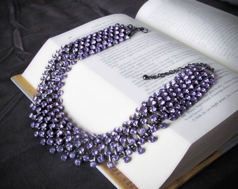 Stunning Purple Rhinestone Choker Necklace