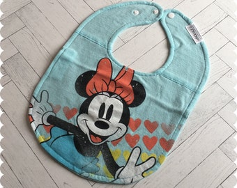 Minnie Mouse Baby Bib, Disney Recycled T-Shirt Bib, Disney Baby Shower, Baby Girl Gifts, Baby Bibs