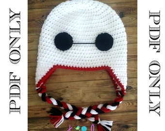 Crochet Baymax Hat Pattern ** PDF File ONLY*** Instant Download