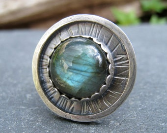 Labradorite Ring, Silver and Labradorite, Bold Statement Ring, wide band ring, silver gemstone ring, rustic ring, oxidized silver ring
