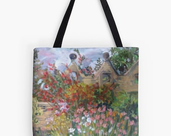 """Summer Gardens Landscape Scenery Tote Bag - Artist's Pastel Painting Design. Two Sizes Available Medium 16"""" and Large 18"""""""