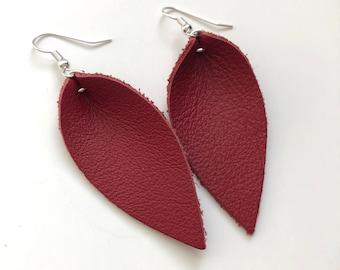 Leather Earrings, Genuine Leather Drop Earrings, Hook Earrings, Jewelry, Ready to Ship
