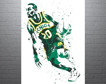 Gary Payton Seattle Supersonics, Sports Art Print, Basketball Poster, Kids Decor, Watercolor Contemporary Abstract Drawing Print, Man Cave