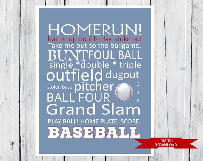 Baseball Word Art Printable PDF